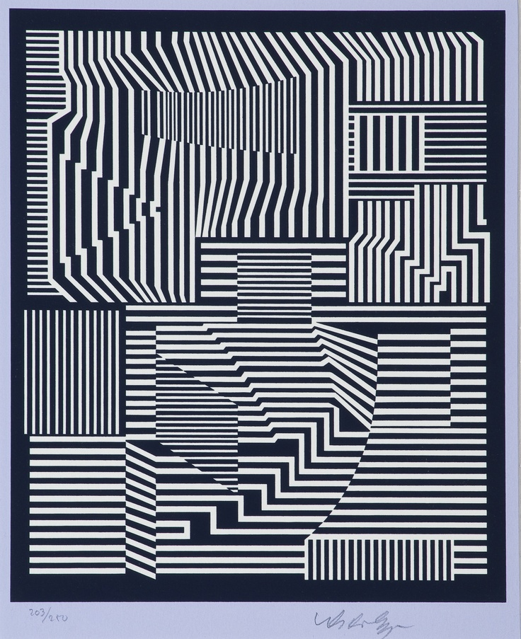 Victor Vasarely  KOMPOSITION. (d)  Sign. Serigrafi, 203/250, 26,5x21,5 cm.