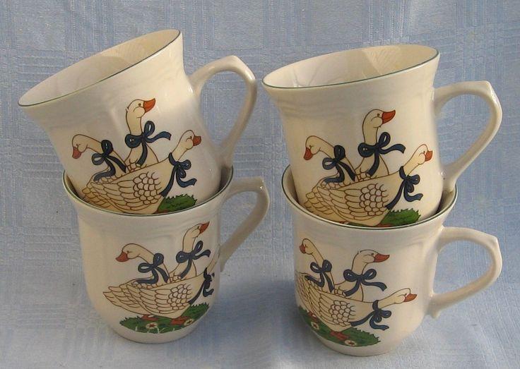 4 große Kaffeetasse Becher Kaffeebecher Motiv Gänse Keramik   eBay