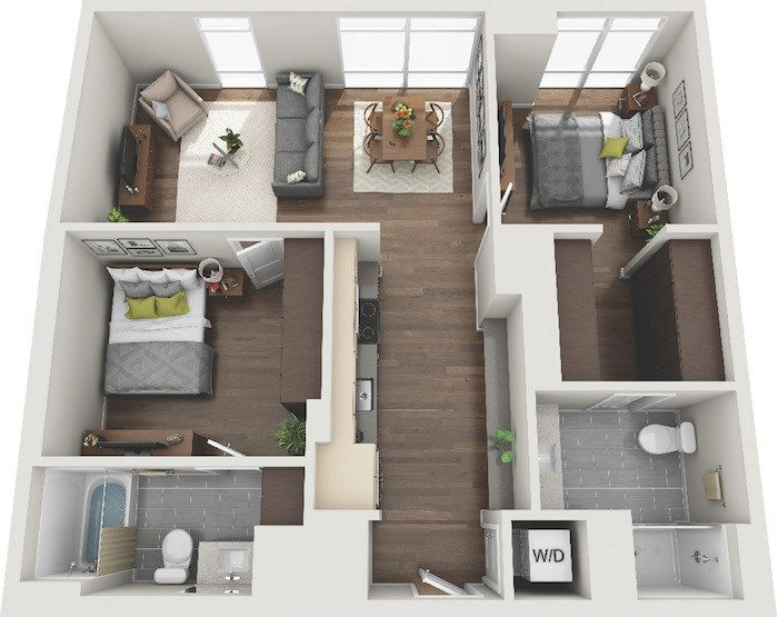 Micro Studio 1 2 3 Bedroom Apartments Lake Nona Pixon In 2020 Sims House Design Small Apartment Floor Plans Small House Design Plans