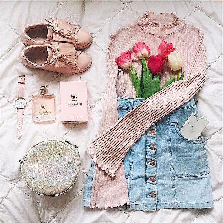SPRING GOALS OOTD / LOOKBOOK / FASHION FLATLAY   sneakers - Stradivarius  skirt  - Stradivarius  Flare pink  , the 5 watch , trussardi parfume , a-line skirt , tulips