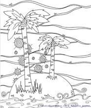 beach coloring pages - Palm Tree Beach Coloring Page