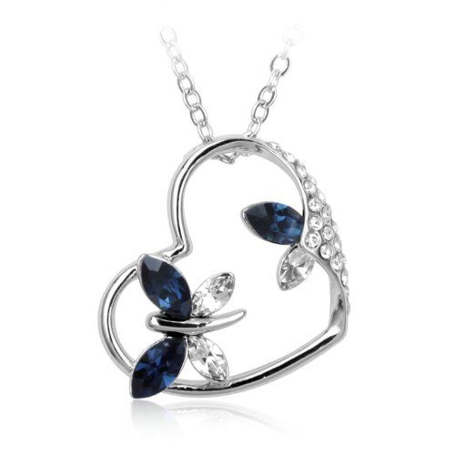 $23.95 Swarovski Austrian Crystal Elements Heart and Butterfly Pendant Necklace - 18 Inch Chain 18k True Platinum Electroplate - Sapphire  From Supreme Crystal   Get it here: http://astore.amazon.com/ffiilliipp-20/detail/B0087ORLN0/183-2732476-9129237