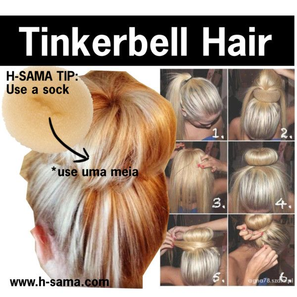Tinkerbell hair sock bun by hsama on Polyvore featuring beauty, Wet Seal, Prom, hair, bun and hsamablog