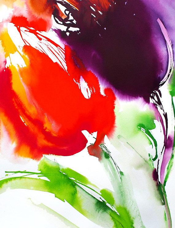 Original Watercolor Painting Abstract Red Tulip Illustration