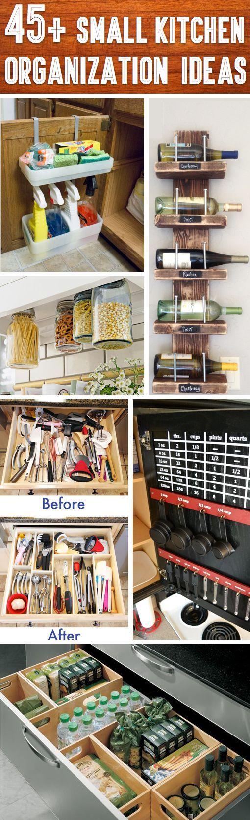 45++Small+Kitchen+Organization+And+DIY+Storage+Ideas