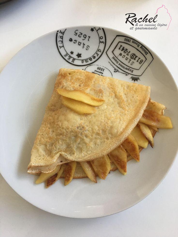 Crêpes légères aux pommes fondantes. Une recette pour la chandeleur de crêpes légères garnies de pommes fondantes.
