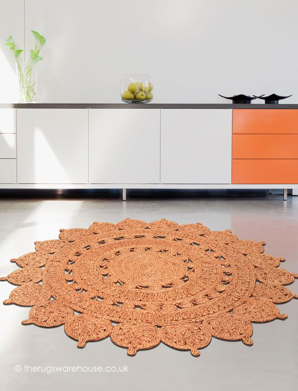 Zira Rust Circle Rug Round Flat Woven Shaped 100 Jute Http