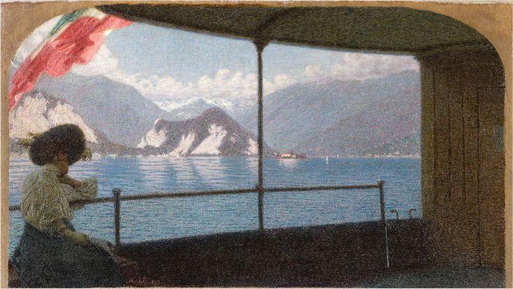 Morbelli, Artgate, (1853-1919), Battello sul Lago Maggiore, 1915, Oil