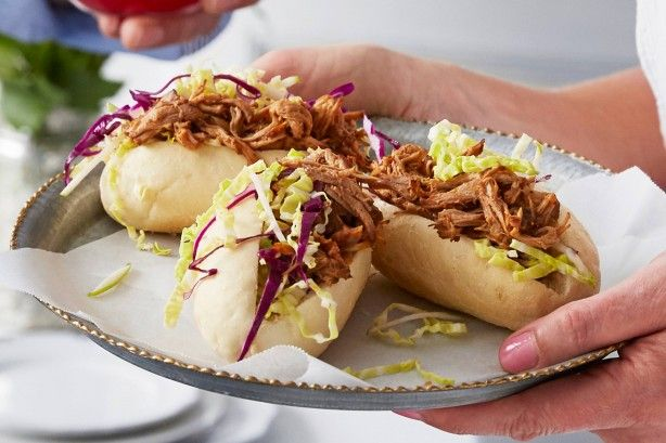 Impress your family and friends with these deliciously easy pulled pork sliders topped with shredded cabbage and fresh coriander.