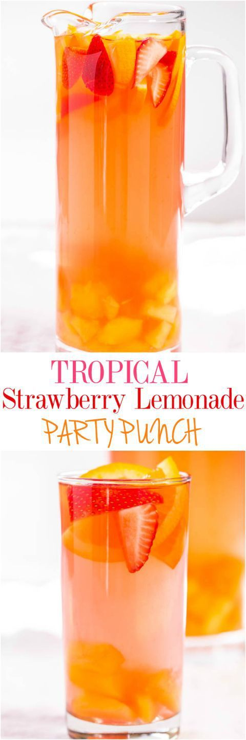 Tropical Strawberry Lemonade Party Punch Recipe via Averie Cooks - Sweet and citrusy with a tropical vibe! So fast and easy!! Punch and sangria all in one with loads of fruit!! (can be made virgin) The BEST Easy Non-Alcoholic Drinks Recipes - Creative Moc (party drinks alcohol)