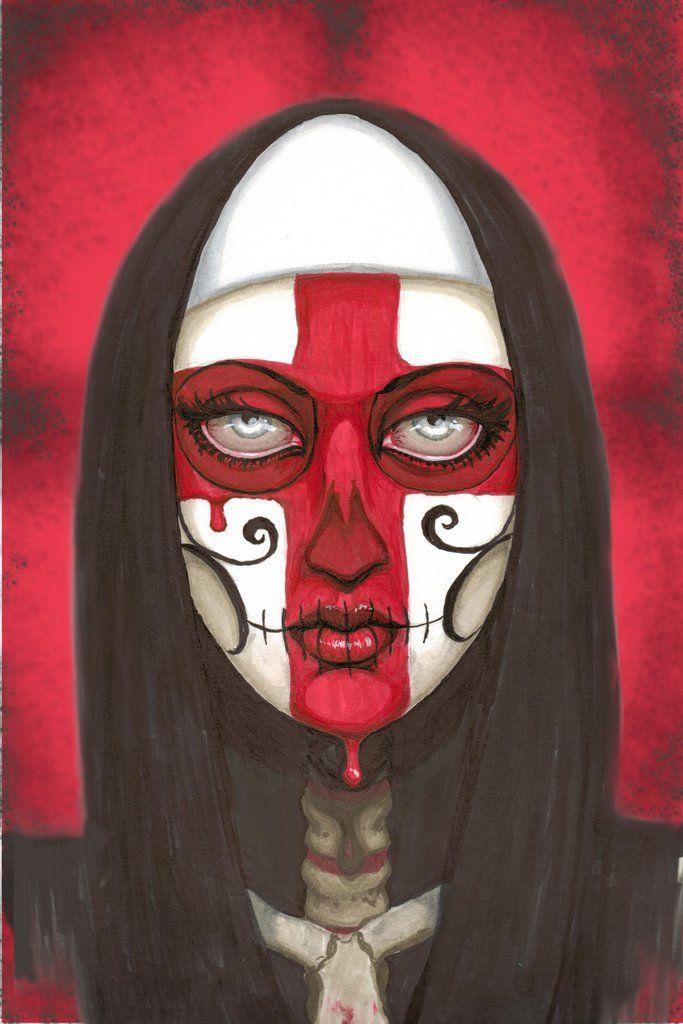 Reverence by Shayne of the Dead Bohner Red Cross on Nun Art Print – moodswingsonthenet