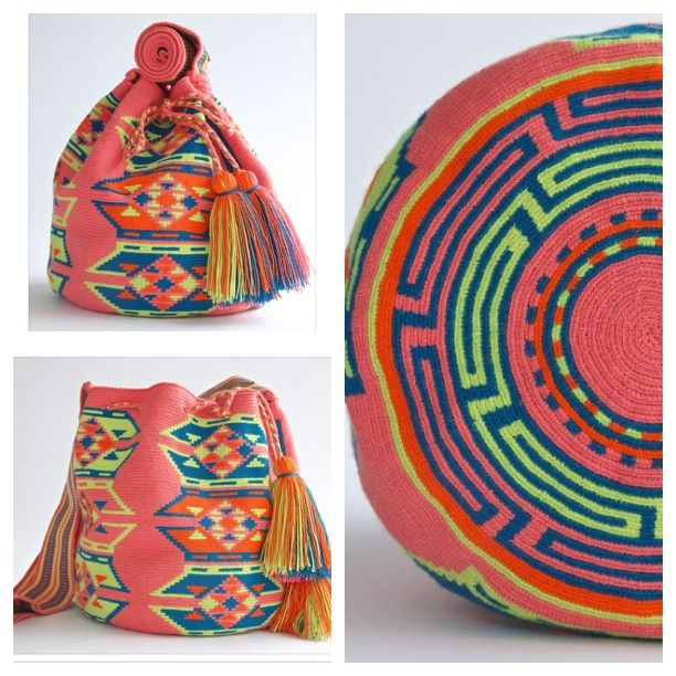 www.wayutribe.com $75.00-$260.00 #womensfashion #bags #mochila Pink and white mochila bag. The average bag takes 20-30 days to hand weave. All bags are Handmade. Wayuu people are use bight different colors and patterns to tell the story of the weaver. These are all one-of-kind bags. Wayuu tribe bags are $75.00-$ 260.00.They are woven with cotton thread. A nice beach bag or farmer bag that is very sturdy.