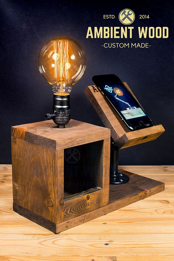 Wood Bedside Utility Storage Box Lamp With Pipe Stand