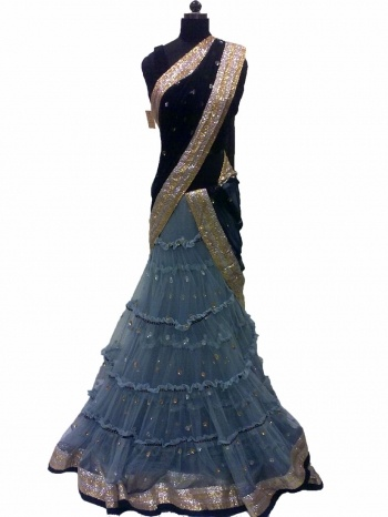 Blue-Grey Black Lehenga Saree!!    Striking array of intricate designs for your dream wedding. Check out from Czari.in. Hurry!