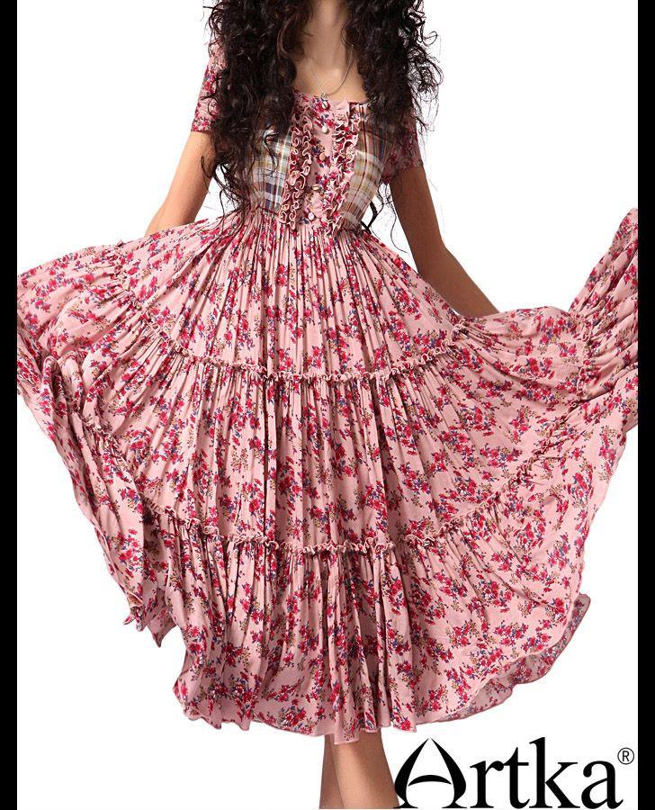 Розовое платье в деревенском стиле со смешанным узором, 14480918333 купить за 7920 руб. с доставкой по России, Украине, Беларуси и миру | Платья | Artka: интернет-магазин обуви и одежды Artka