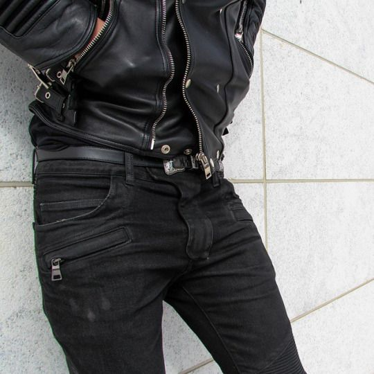 boy + leather jacket + black skinny jeans