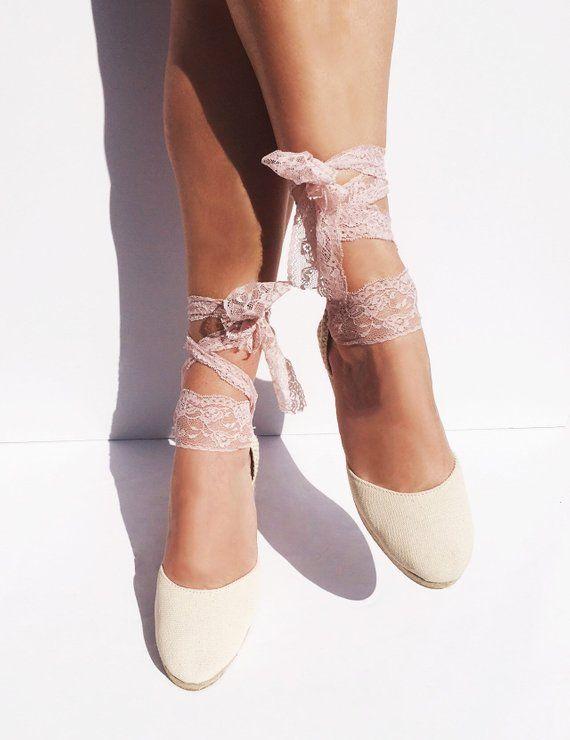 25f9ab746 BOHOIBIZA Ivory Blush Pink Laces Up Espadrille, dance shoes, ballerina  shoes, wedding shoes, bridal shoes #ibizencas #loveibizencas #boho  #bohochic ...