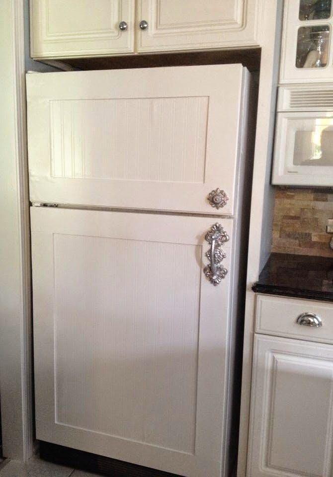 Wood paneled fridge