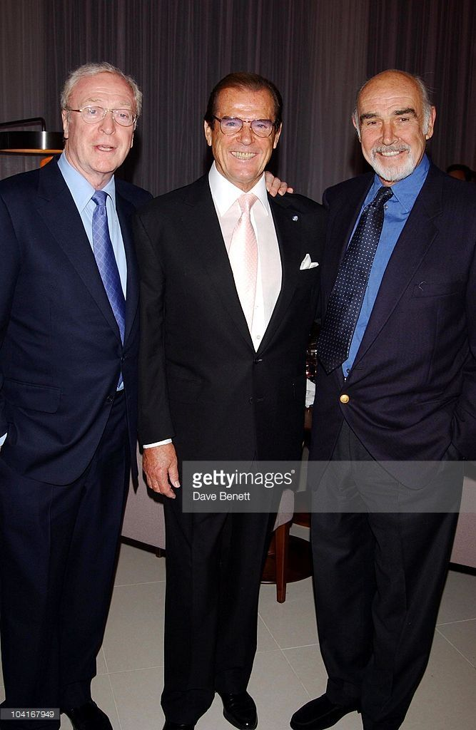 Sir Michael Caine, Sir Roger Moore And Sir Sean Connery, Party For Sir Roger Moore To Celebrate His Knighthood, At His Son Geoffrey Moore S New Restaurant Shumi 23 St James Street, London