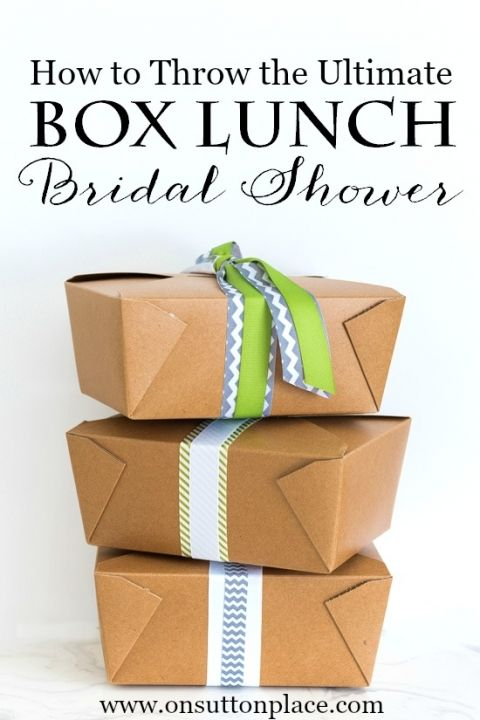 Sources, menu and checklist for hosting the perfect box lunch bridal shower. Everything you need to know!