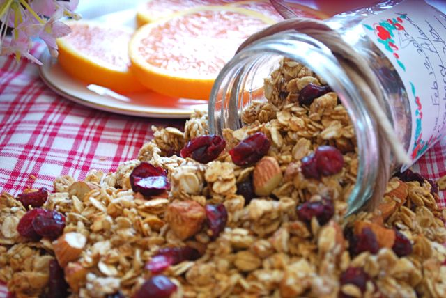 Cranberry Almond Granola - Low on sugar and oil. Check. Great ingredients. Check. Going to try sometime. Check, check, check!