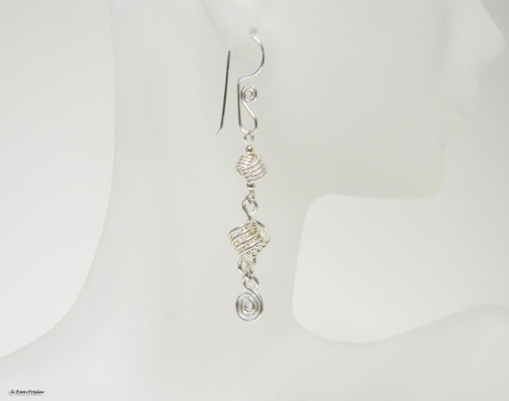 Love Knot Earrings Sterling Silver Long Dangly by PamPreslar, $35.00