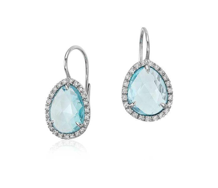 Sky Blue Topaz and Diamond Halo Earrings in 14k White Gold | #Wedding #Earrings #Jewelry