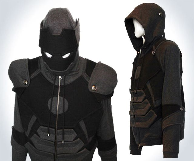 This Iron Man crime-fighting-armor-turned-loungewear combines the Avenger's Mark VII and Mark VIII suits. Its chest and shoulders draw from the former, while the elbows and abdomen take after the latter. Awww, it's like Mark VII and Mark VIII decided to