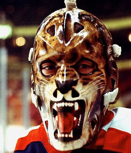 Award for The Greatest Goalie Mask Ever goes to Gilles Gratton's mask from 1976 when he was with the New York Rangers - The Lion.
