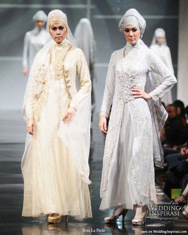 Islamic style muslimah wedding dresses and evening gowns on the runway