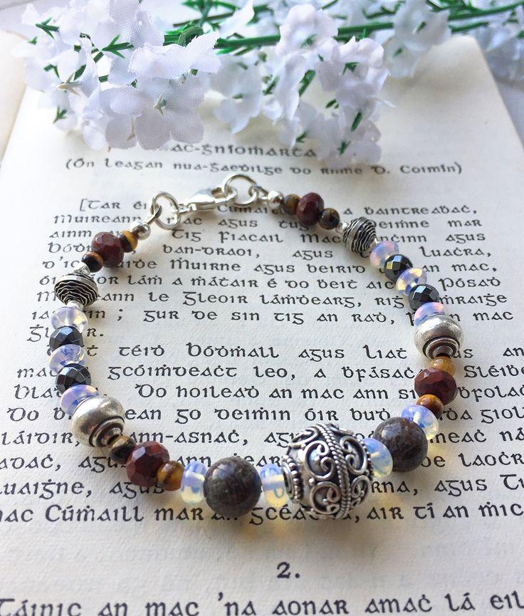 Boho style sterling silver gemstone bracelet