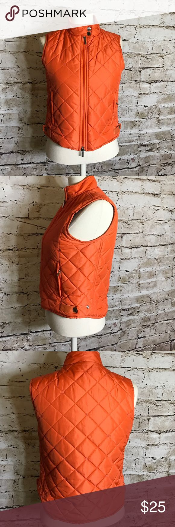 Ralph Lauren quilted vest Orange quilted vest with RL stitched all over Ralph Lauren Jackets & Coats Vests