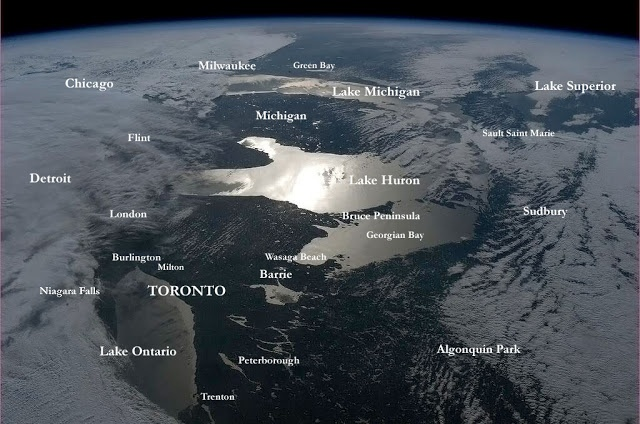Toronto In Context (From Outer Space). Canadian astronaut Chris Hadfield (he's from Milton, just outside Toronto) took another great photo of our city while he was up there in outer space today doing his thing as the current Commander of the International Space Station. This photograph shows almost all of the Great Lakes, so I figured I'd throw a few labels on it and put our metropolis in context from an angle you don't usually get to see...