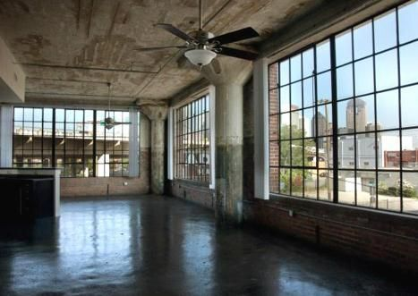 big windows, concrete columns, shiny floor.  I dig it.