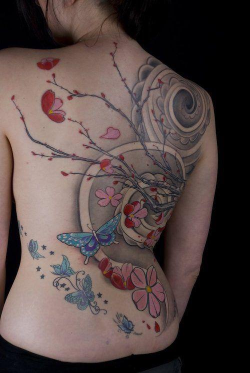better angle. cool cherry blossom branch tattoo: Blossoms Branches, Back Tattoo, Butterflies Tattoo, Cherries Blossoms Tattoo, Tattoo Ink, Floral Tattoo, Bodyart Paintings Tattoo, Tattoo Body Art, Branches Tattoo