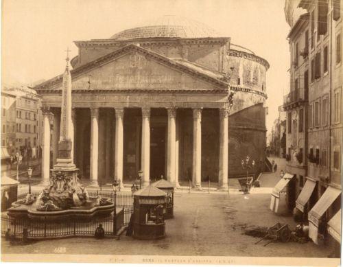Italie-Roma-Il-Panteon-Vintage-albumen-print-Tirage-albumine-18x24-Cir