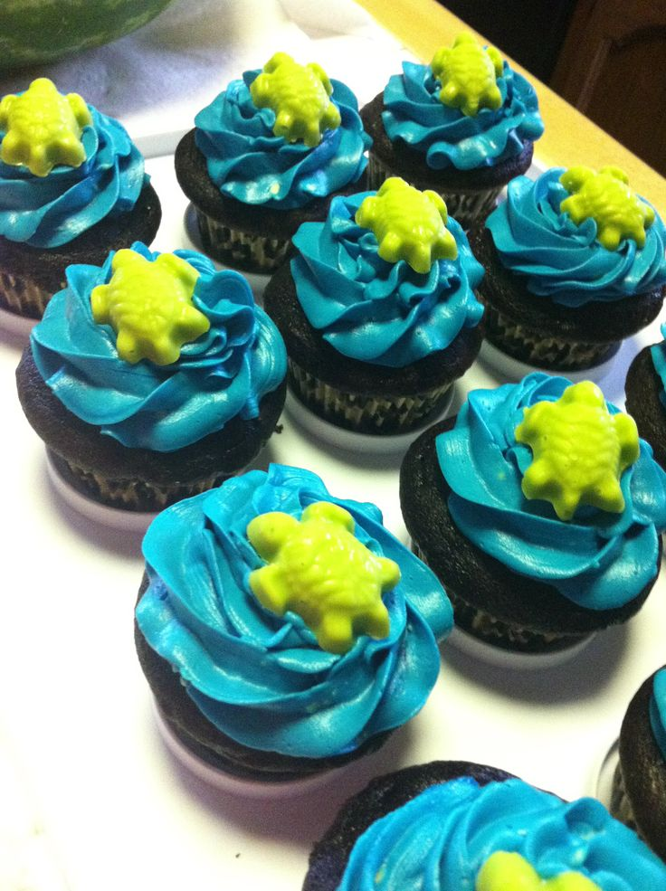Sea Turtle cupcakes for sea turtle and cheetah #birthday #party