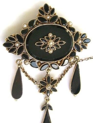 Victorian 14K Gold Seed Pearl Mourning Pin Brooch French Jet ONYX