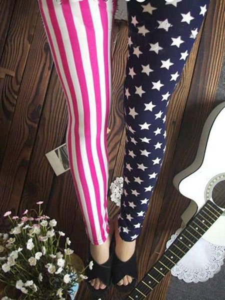 Fashion Punk Street Stlye US Flag Star Stripe Print Leggings