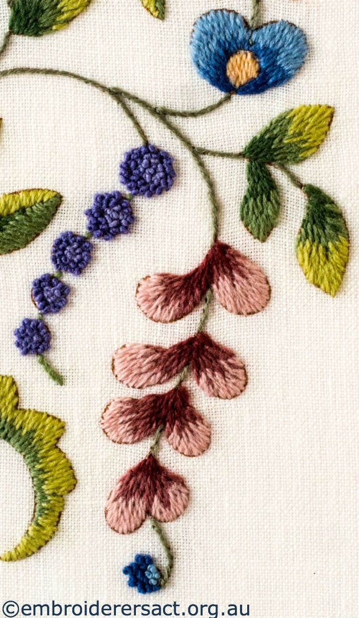 Flower Detail 3 from Jacobean Crewel Tree with Flowers stitched by Barbara Adams