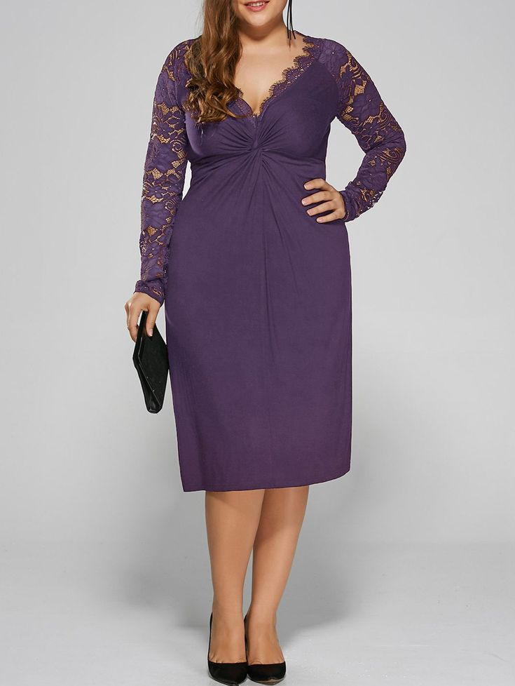 Plus Size Twist Front Lace Insert Fitted Dress In Purple,5xl | $20.07