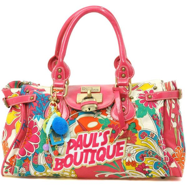 Paul's Boutique Bright Flower Logo Padlock Bag ($111) ❤ liked on Polyvore featuring bags, purses, accessories, bolsas, borse, access, women, logo bags, handle bag and pauls boutique bags