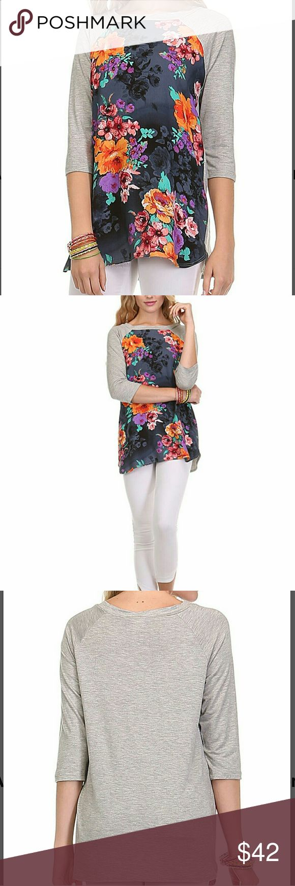 🔶ARRIVES FRI🔶Gray & Purple Floral Raglan Tee Breezy, Sporty and casually comfortable. 🌺 Perfect for Spring and brightening up your wardrobe.  Available in S (0-4), M (4-8), XL (12/14) and XXL (16).  95% rayon, 5% spandex.  Made in USA. lara Tops