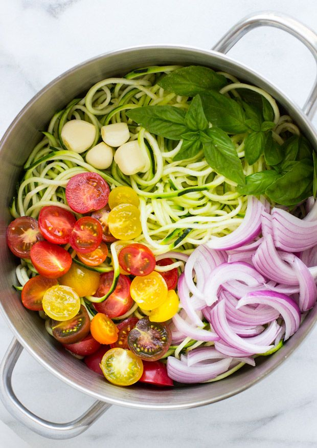 One Pot Zucchini Pasta- light, healthy and ready in less than 30 minutes! (gluten-free)