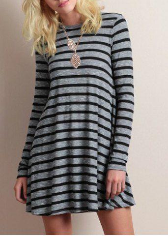 Simple Round Neck Long Sleeve Striped Women's Mini DressLong Sleeve Dresses | RoseGal.com