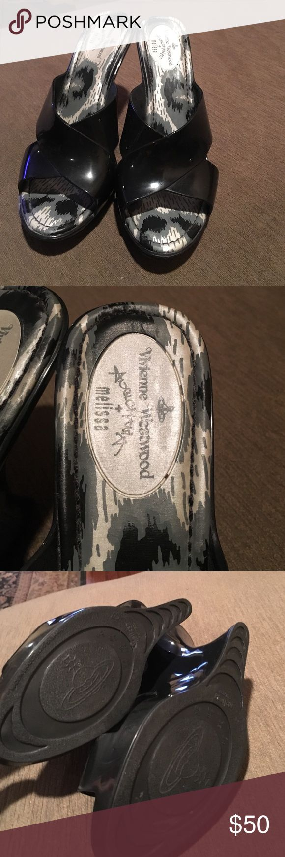 Vivienne Westwood  Anglomania+Melissa wedges Vivienne Westwood Anglomania+Melissa black wedge.The classic slip on with two thick crossed straps that comfortably keep your foot secure while teetering on a fabulous Melissa Black X Vivienne Westwood Wedge Vivienne Westwood Shoes Wedges