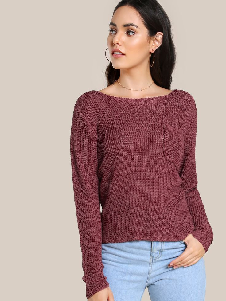 Shop Knitted Long Sleeve Pocket Top RUST online. SheIn offers Knitted Long Sleeve Pocket Top RUST & more to fit your fashionable needs.