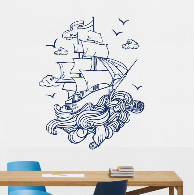 **Wandtattoo Ship ** Unsere Wandtattoos bestehen aus einer seidenmatten selbstklebenden Vinylfolie. Die Wandtattoos lassen sich auf nahezu allen glatten Flächen wie Tapete, Glas, Holz,...