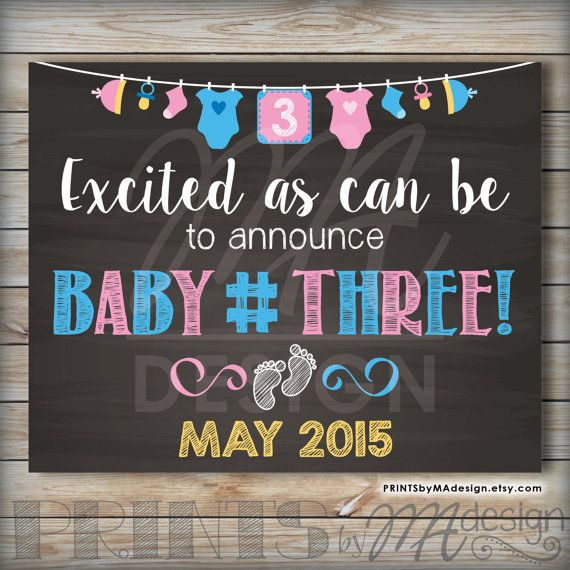 Baby Number 3 Announcement Photo Prop 3rd Baby by PRINTSbyMAdesign