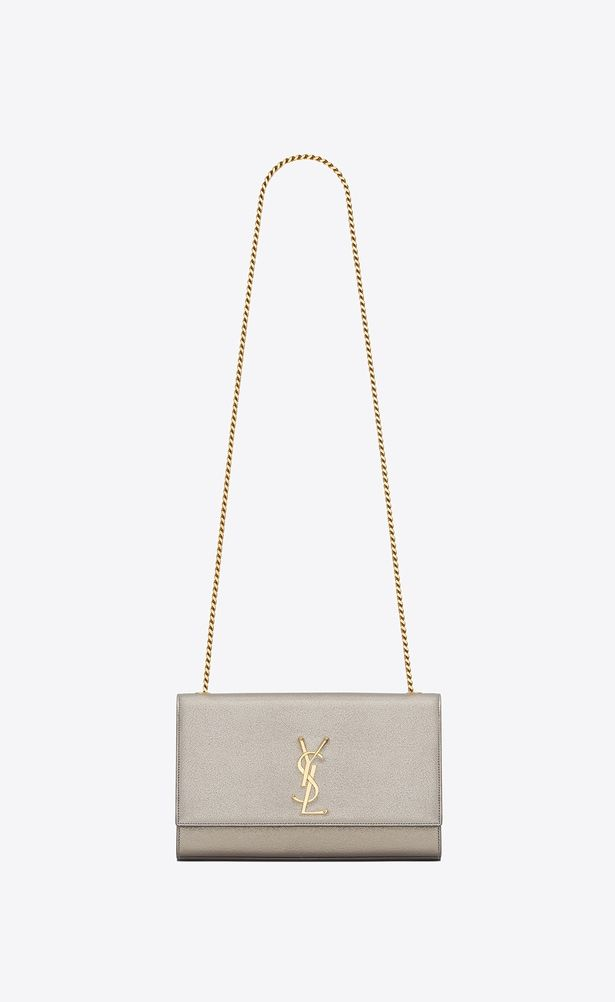 SAINT LAURENT MONOGRAM KATE Woman medium kate Chain bag in pale gold  grained metallic leather a V4 277d2c20a1329